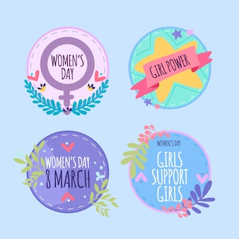 Hand drawn collection of women's day badges