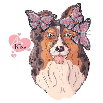 蝶と手描きのコリー犬の肖像画