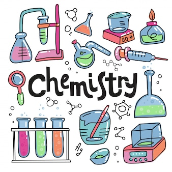 Hand drawn color chemistry and science icons set. collection of laboratory equipment in doodle style