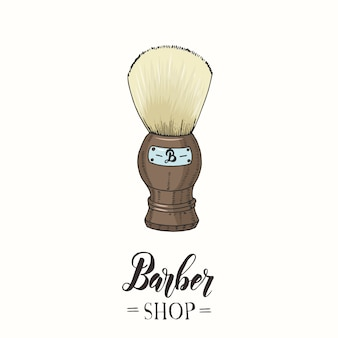 Hand drawn color shaving brush in sketch style.