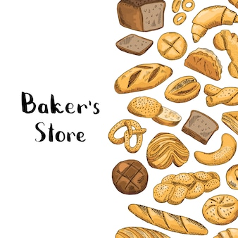 Hand drawn colored bakery elements