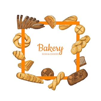 Hand drawn colored bakery food elements around it