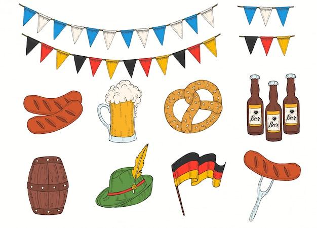 Hand drawn colored barrel, glass, bottle, pretzel, flag garland, sausage, german flag in sketch style.