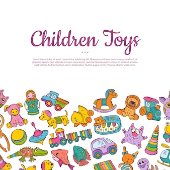 Hand drawn colored children or kid toys card with place for text
