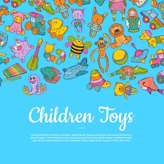 Hand drawn colored children or kid toys  with place for text on blue