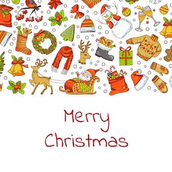 サンタ、クリスマスツリー、ギフト、ベルの背景イラストと手描き色のクリスマス要素