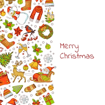 Hand drawn colored christmas elements with santa, xmas tree, gifts and bells background with place for text illustration