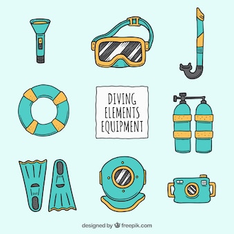 Hand drawn colored diving equipment