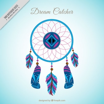Hand drawn colored dream catcher background