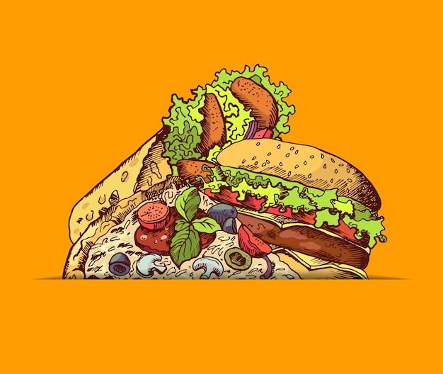 手描き色のファーストフードハンバーガー、タコス、ピザが集まったイラスト