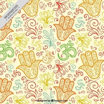 Hand drawn colored floral decoration with fatima's hand background