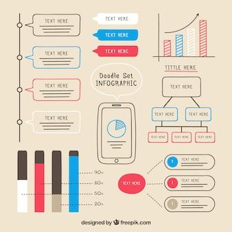 手描き着色されたインフォグラフィック要素パック