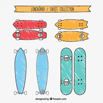 Hand drawn colored longboard collection
