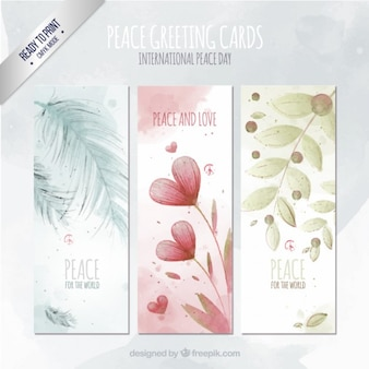 Hand drawn colored peace greeting cards