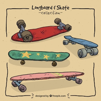 Hand drawn colored skateboards