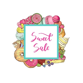 Hand drawn colored sweets around square
