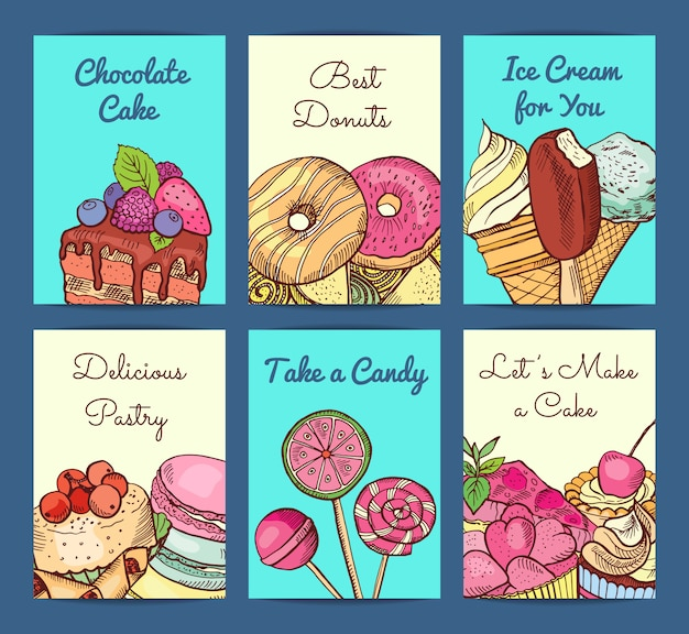 Hand drawn colored sweets shop card