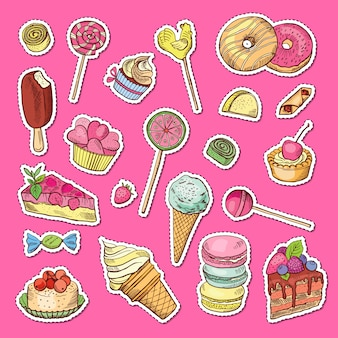 Hand drawn colored sweets stickers.