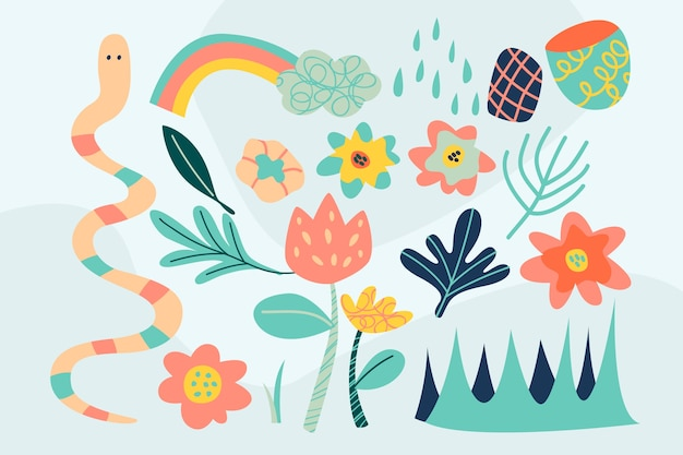Hand drawn colorful abstract organic shapes background