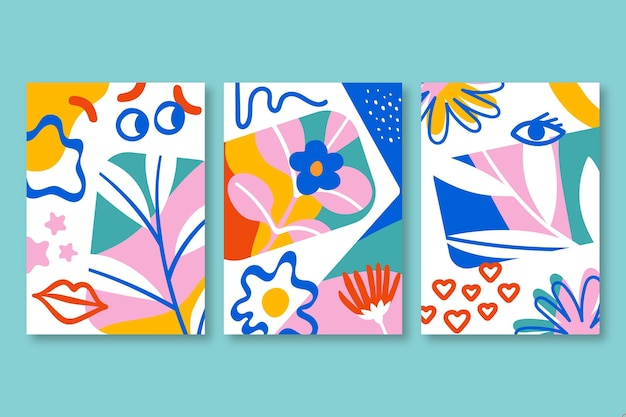 Hand drawn colorful abstract shapes covers
