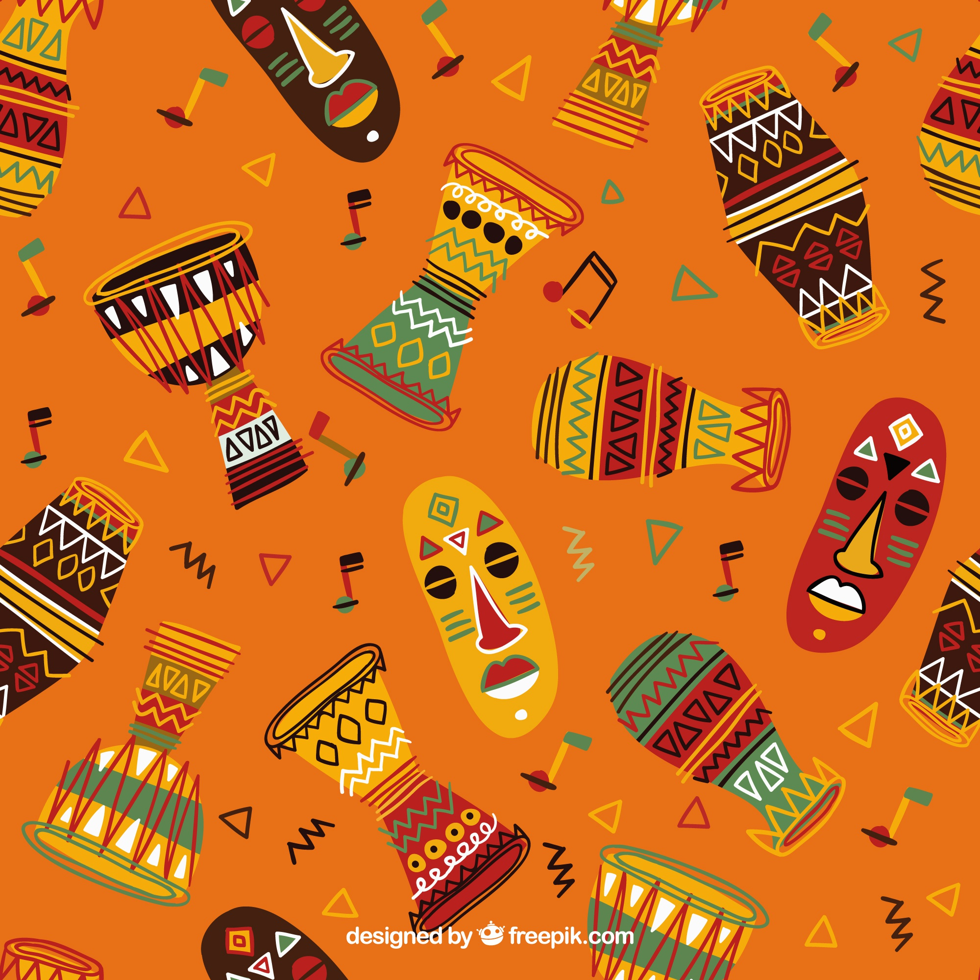 Hand drawn colorful african pattern