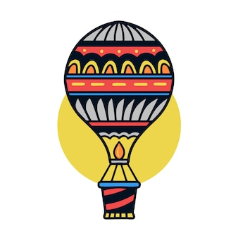 Hand drawn colorful air balloon old school tattoo illustration