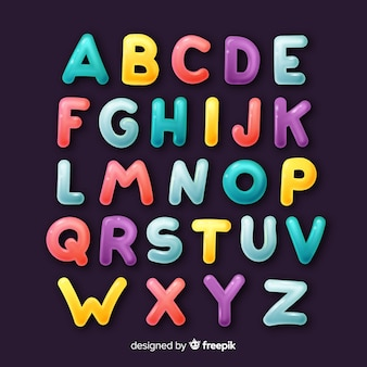 Hand drawn colorful alphabet
