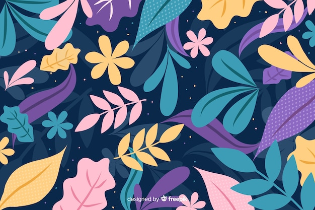 Hand drawn colorful background with leaves and flowers