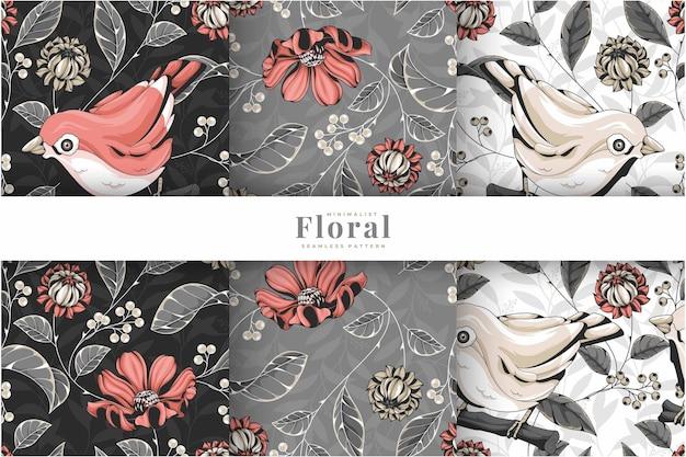 手描きのカラフルな鳥の花柄