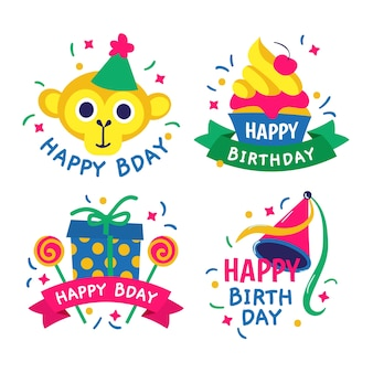 Hand drawn colorful birthday logos