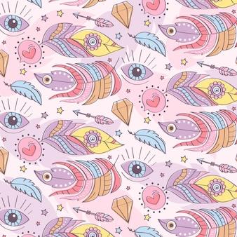 Motivo boho colorato disegnato a mano