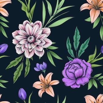 어둠에 손으로 그린 된 화려한 식물 원활한 꽃 패턴