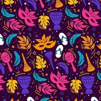 Hand drawn colorful brazilian carnival pattern