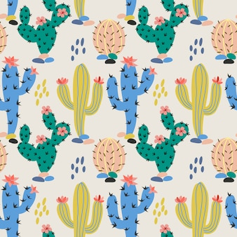 Hand drawn colorful cactus fabric textile