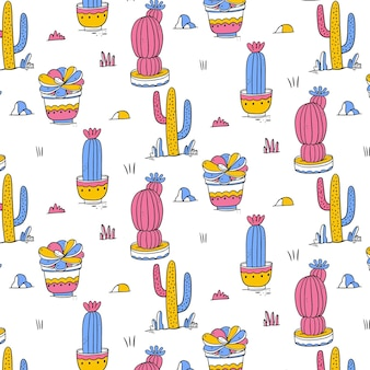 Hand drawn colorful cactus pattern