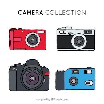 Collezione di telecamere colorate disegnate a mano