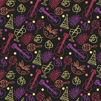 Hand drawn colorful carnival pattern on dark background