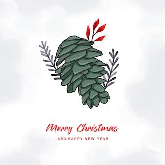 손으로 그린 화려한 크리스마스 카드