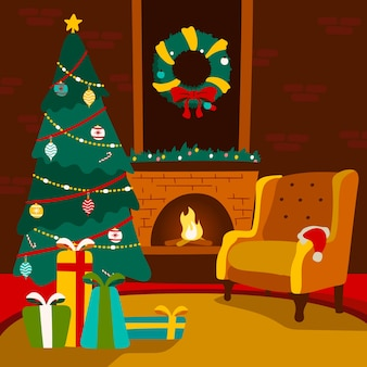 Hand drawn colorful christmas fireplace scene