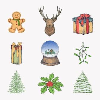 手描きのカラフルなクリスマスアイコンバンドル。