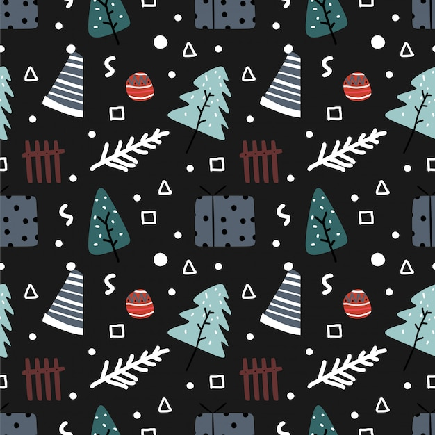 손으로 그린 화려한 크리스마스 원활한 패턴 낙서