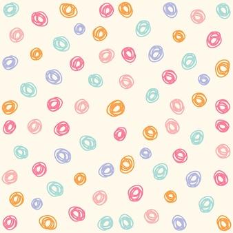 손으로 그린 다채로운 원형 원활한 패턴, 귀여운 원형 원활한 패턴 배경
