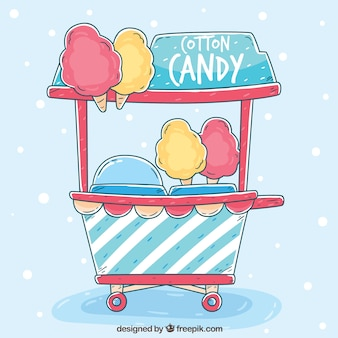 Hand drawn and colorful cotton candy cart