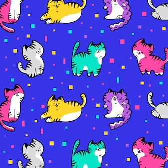Hand drawn colorful cute cat pattern