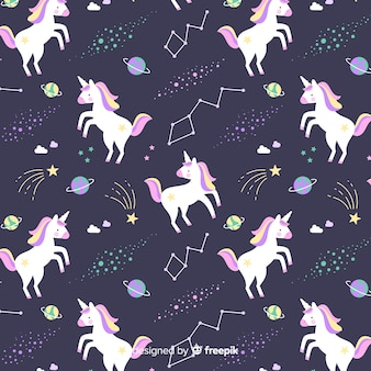 Hand drawn colorful cute unicorn pattern