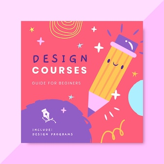 Hand drawn colorful design cd cover