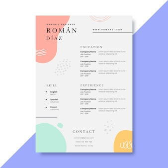 Hand drawn colorful design resumes