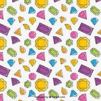 Hand drawn colorful diamond background