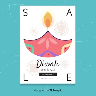 Hand drawn colorful diwali sale template
