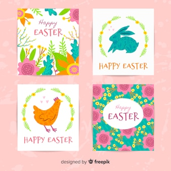 Hand drawn colorful easter card collection